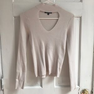 Cream Kendall & Kylie V-Neck Turtle Neck Sweater
